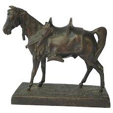 Rare Signed Bronze Figure of Arabian Stallion by Jean Francois Theodore Gechter. Mid Nineteenth Century.Horse