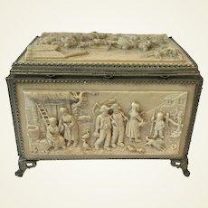 Rare Antique Dutch Carved Lava Stone Jewelry Casket. Sewing box.