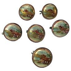 Superb Set of Six Meiji Period Japanese Satsuma Buttons