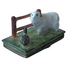 Hand Painted Limoges Trinket Box. Sheep and duck.