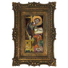 French Enamel Plaque of Saint Matthew. Original frame.