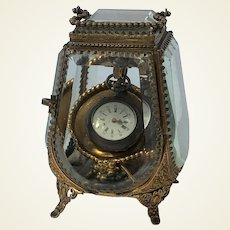 Fabulous Antique French Glass Pocket Watch Holder. Casket.