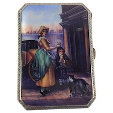 Quality Antique Silver and Enamel Card or Cigarette Case.