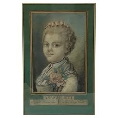 18th Century French Pastel Portrait of Madame Petit. Signed by Artist.