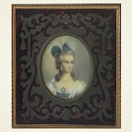 Fabulous Painting. Portrait of Lady in Stunning Frame.