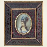Fabulous Miniature Painting. Portrait of Lady in Stunning Frame.