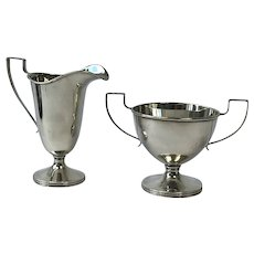 Elegant Sterling Silver Cream Jug & Sugar Bowl. Webster Co North Attleboro Massachusetts USA.