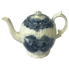 Rare 19th Century Antique English Transfer Printed Blue & White WT Copeland Teapot