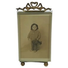 Pretty French Photo Frame/Child Holding Teddy Bear 1910