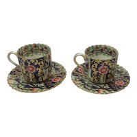 Rare Copeland Spode for John Mortlock Pair Coffee Cans and Saucers C.1875