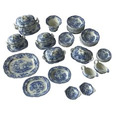 Delightful English Antique Blue & White Chinoiserie Pattern , Dolls, Miniature Dinner Service. . C.1840