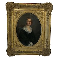 Early Oil Painting On Board. Elegant Lady Portrait. C1840