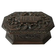 Antique Heavily Carved Oak Jewel Box with Key. C1890
