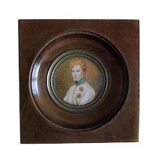 Antique French Miniature Painting Signed, Portrait Napoleon Bonaparte's Son