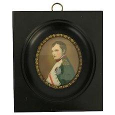 Antique Miniature Painting Of Napoleon Bonaparte. Signed M. Meisley