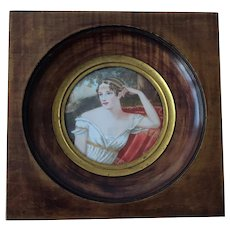 Framed  Miniature Portrait Of Josephine De Beauharnais. . Wife Of Napoleon Bonaparte. Signed