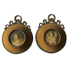 Pair Of Antique Miniature Paintings. Signed. C.1900.