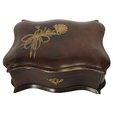 Fabulous Leather Box. Lined Interior, Jewelry, Sewing or Keepsake Box. Circa 1890