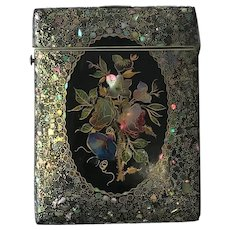 Superb  Antique English Papier Mache Calling Card Case C.1840