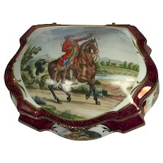 Large Limoges Hand Painted Box/Casket. Falconers