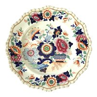 Large Hicks & Meigh 'Stone China' Dining Plate / Imari Style, c.1820.
