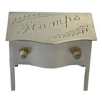 English Novelty Silver Plate Stamp Holder / Foot Stool. C.1910