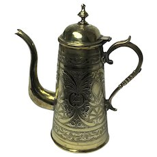 Vintage Eastern Embossed Brass Teapot / Coffee Pot. C1910