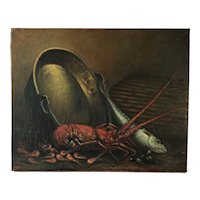 French Oil ON Canvas Lobster, Shrimp, Trout, Signed