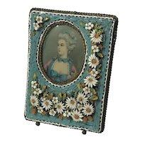 Vintage Italian Micro Mosaic Table Photograph Fame w Miniature Painting