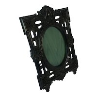 Large Antique carved ebonised photo frame. C1890.