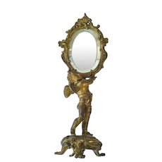 Antique French Gilt Metal Vanity Mirror Cherub / Putti. C. 1900.
