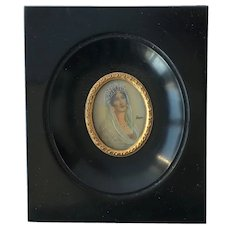 Miniature Painting Of Josephine De Beauharnais First Wife Of Napoleon Bonaparte . Signed