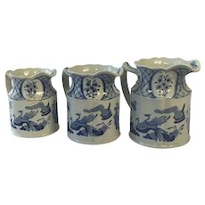 Set of Three Blue and White Old Chelsea Pitchers, Jugs. English. 1915.