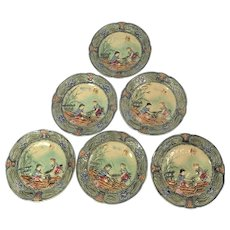Set Of Six 19th Century French Majolica / Barbotine Children's See Saw Plates