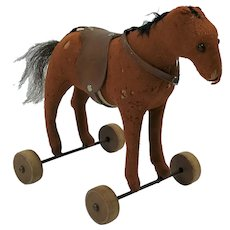 Antique German Steiff Felt Toy Horse on Wheels.