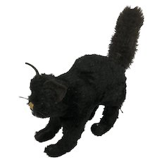 Vintage Black Straw Filled Mohair Cat. C.1935