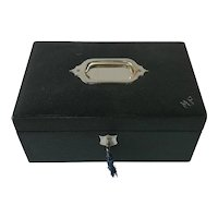 Embossed Green Leather Box. Lined Interior, Jewelry, Sewing or Keepsake Box.