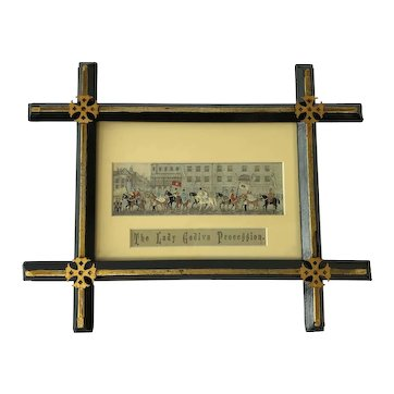 "Victorian Framed Stevengraph ""The Lady Godiva Procession"" Registration 14th August 1879."