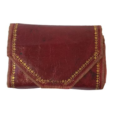 Antique Soft Red Leather Sewing Etui/Pouch. with Rose Pink Silk Lining. C.1870.