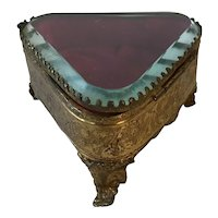 Antique French Bevelled Glass and Gilded Brass Ormolu Triangular Trinket box. C.1910