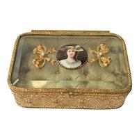 Antique French Ormolu/Glass Jewel/Trinket Box. C1880