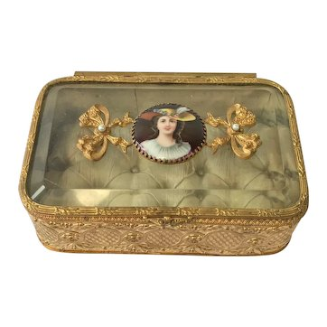 Antique French Ormolu/Glass Jewel/Trinket Box. C1880