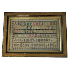 19th Century English Sampler By  Annie Thompson. Aged 14. 1886;