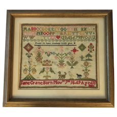 Antique English Needlework Sampler By Jane Cane 1849; Aged 11