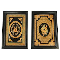 Pair of Antique Tunbridge Ware Plaques. C. 1880