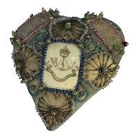 WW1 Sweetheart Cushion, The Durham Light Infantry. THIN K OF ME. C1914
