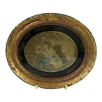 Rare Antique Miniature Needlework Picture. In Oval Frame. C.1820