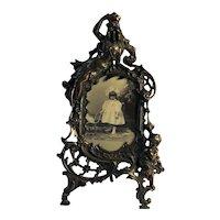 Victorian Cast Metal Picture Frame Featuring Ornate Design Cherub /Maiden C.1880