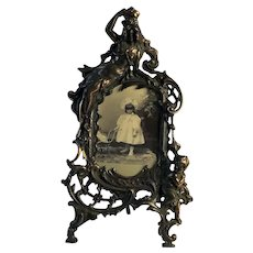 Victorian Cast Metal Picture Frame Featuring Ornate Design Cherub /Maiden C.1880
