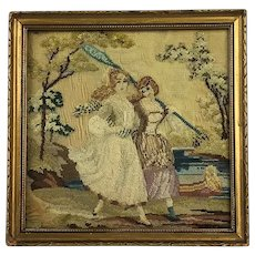 19th Century Miniature Needlework Petit Point Picture. C.1840